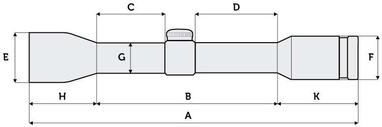 Схема размеров прицела Meopta MeoStar R1 1-4x22 RD KDot — Интернет-магазин ZBROIA