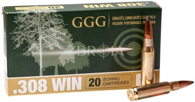 Патрон GGG кал. 308 Win пуля Sierra GameKing SBT, масса 10.69 гр/165 гран