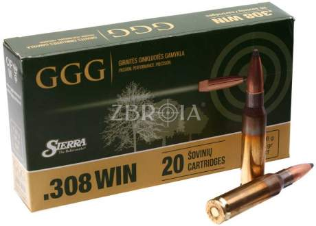 Патрон GGG кал. 308 Win пуля Sierra GameKing SBT, масса 11.66 гр/180 гран