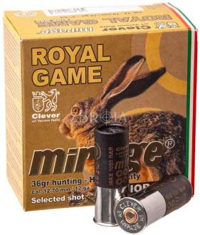 Патрон Mirage T4 Royal Game кал. 12/70 дробь №0, навеска 36 гр